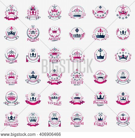 Classic Style Crowns Emblems Big Set, Ancient Heraldic Symbols Awards And Labels Collection, Classic