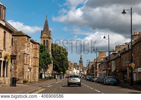 Cupar, Scotland - August 12, 2019: West Port Street At Road A91 In The Centre Of Cupar City In Scotl