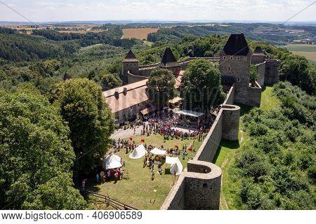 Helfstyn, Czech Republic - July 5, 2016: Courtyard Of Helfstyn Castle In Czech Republic With A Lot O
