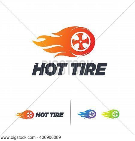 Hot Tire Logo Designs Concept Vector, Speed Fire Tire Logo Template, Automotive Symbol