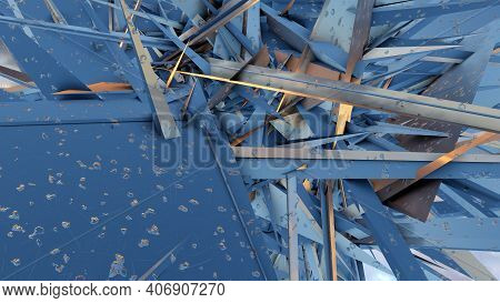 Sharp Steel Heavy Metal Chaos Peaked Parts Confusion 3d Illustration