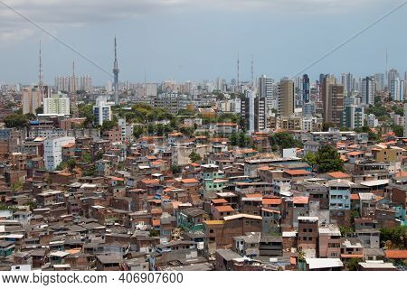 Urban Landscape With Social Contrast Between Favela And Buildings.