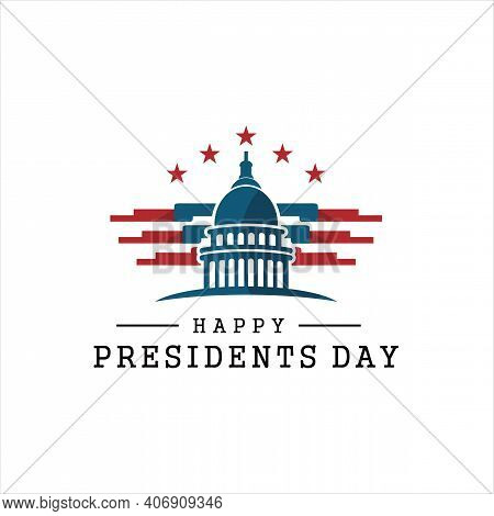 Presidents Day. Vector Typography, Text Or Logo Design, Capitol Building Logo Design Template. Aweso