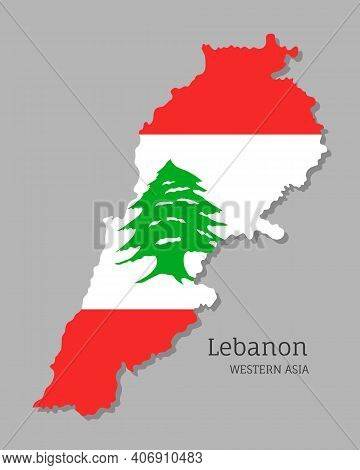 Map Of Lebanon With National Flag. Highly Detailed Editable Map Of Lebanon, Western Asia Country Ter