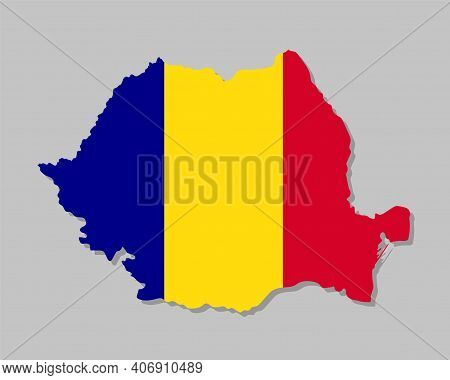 Highly Detailed Map Of Romania With Flag. Silhouette Of European Country Map With Romanian Flag Insi