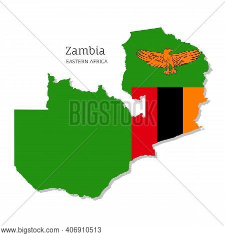 Map Of Zambia With National Flag. Highly Detailed Editable Zambian Map Of Eastern Africa Country Ter