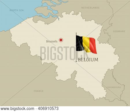 Silhouette Of Belgium Country Map. Highly Detailed Editable Belgium Map Country Territory Borders Wi