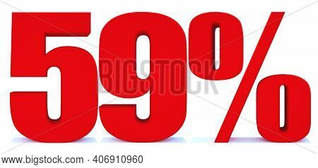 59 Percent Off 3d Sign On White Background, Special Offer 59% Discount Tag, Sale Up To 59 Percent Of
