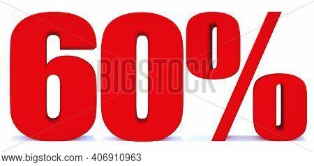 60 Percent Off 3d Sign On White Background, Special Offer 60% Discount Tag, Sale Up To 60 Percent Of
