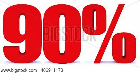 90 Percent Off 3d Sign On White Background, Special Offer 90% Discount Tag, Sale Up To 90 Percent Of