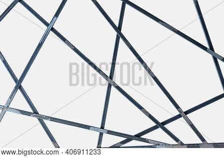 Metal Decor With Steel Bars Geometric Shape Isolated On White Background.  Structure Grid Made Of Ir