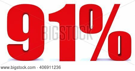 91 Percent Off 3d Sign On White Background, Special Offer 91% Discount Tag, Sale Up To 91 Percent Of