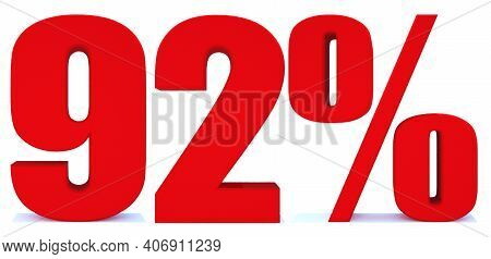 92 Percent Off 3d Sign On White Background, Special Offer 92% Discount Tag, Sale Up To 92 Percent Of
