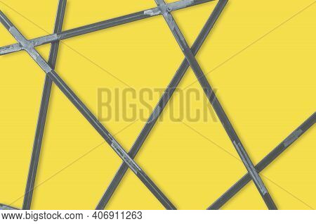 Metal Geometric Grid On Yellow Background. Abstract Steel Bars Backdrop. Empty Place For Text, Copy