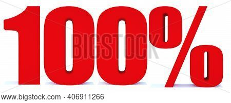 100 Percent Off 3d Sign On White Background, Special Offer 100% Discount Tag, Sale Up To 100 Percent