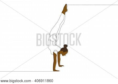 Gymnast Girl With African Ethnicity Standing Silhouette On Hands. Linear Drawing Of A Gymnast. Vecto