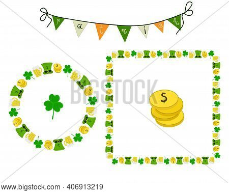 The Frame Is Round And Square, With A Green Hat, A Beer Mug And Gold Coins, As Well As Banners. St.