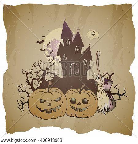 Vector Halloween Illustration With Grinning Pumpkins, Broom And Sinister Castle On Grunge Background