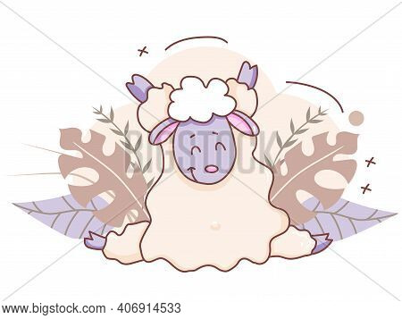 Pets Yoga Time. A Cute Lamb Is Engaged In Yoga, Sitting In An Asana, Twine. Lifestyle And Hobbies At