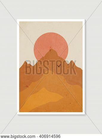 Mountain Wall Art. Vector Earth Tones Landscapes Backgrounds With Moon And Sun. Abstract Arts Design