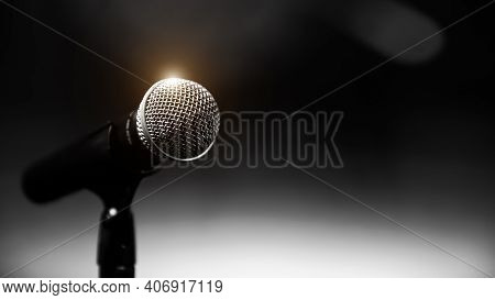 Public Speaking Backgrounds, Close-up The Microphone On Stand For Speaker Speech Presentation Stage
