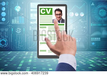Recruitment and employment concept with cv