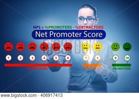 Net Promoter Score NPS concept with businesswoman pressing virtu