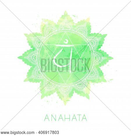 Vector Illustration With Symbol Chakra Anahata And Watercolor Element On White Background. Circle Ma