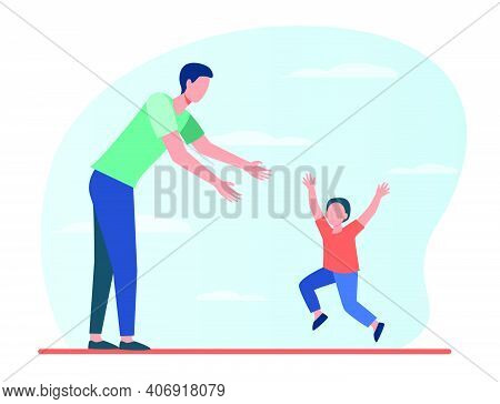 Little Boy Running To His Dad. Father And Son Enjoying Meeting Flat Vector Illustration. Fatherhood,
