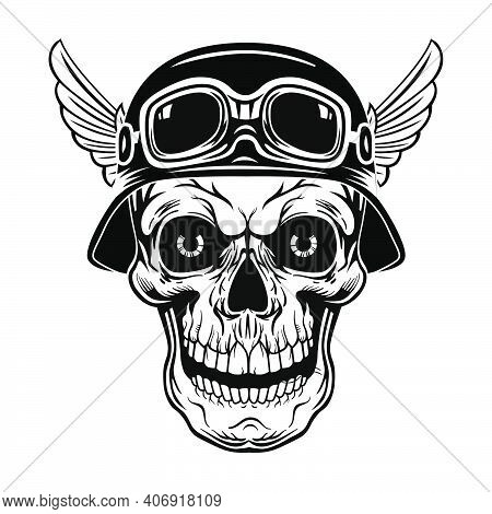 Retro Skull In Helmet With Wings Vector Illustration. Vintage Dead Head Of Soldier. Tattoo Design An