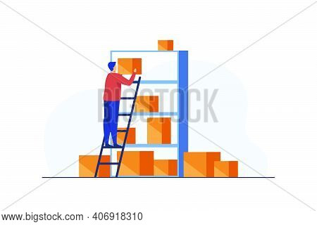Man Putting Boxes On Shelves Of Rack. Staircase, Management. Flat Vector Illustration. Warehousing C