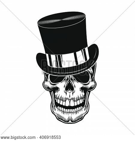 Skull In Top Hat Vector Illustration. Head Of Scary Character In Gentleman Cylinder Hat. Headwear Co