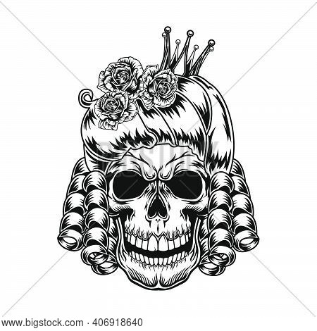 Skull Of Queen Vector Illustration. Head Of Scary Character With Royal Hairstyle And Crown. Authorit