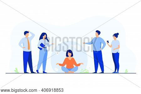 Person Keeping Social Distance And Avoiding Contact. Woman Separating From Crowd And Meditating In T