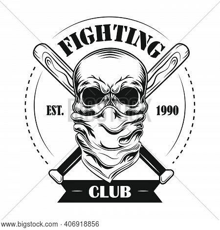 Fighting Club Member Vector Illustration. Skull In Bandana, Crossed Baseball Bats And Text. Fight Cl