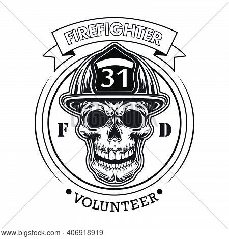 Firefighter Volunteer Emblem With Skull Vector Illustration. Head Of Character In Helmet With Number