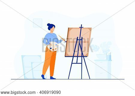 Smiling Woman Standing Near Easel And Painting Flat Vector Illustration. Cartoon Painter With Palett