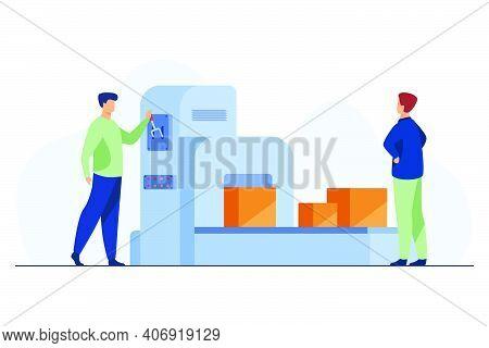 Storehouse Employee Operating Conveyor Machine. Men Watching Carton Boxes Moving On Belt Flat Vector