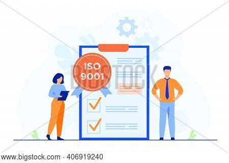 Tiny Business People Passed Standard Quality Control Isolated Flat Vector Illustration. Cartoon Docu