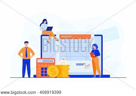 Tiny People Preparing Invoice On Computer Isolated Flat Vector Illustration. Cartoon Accountants Cre