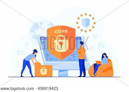 Tiny People Protecting Business Data And Legal Information Isolated Flat Vector Illustration. Genera