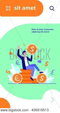 Happy Businessman Earning Money Flat Vector Illustration. Cartoon Millionaire Or Banker Holding Huge
