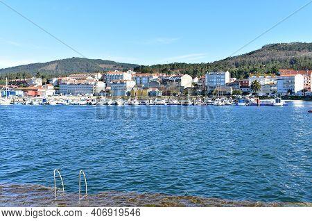 Portosin, Spain. December 26, 2020. Small Fishing Village At Famous Rias Baixas In Galicia Region An