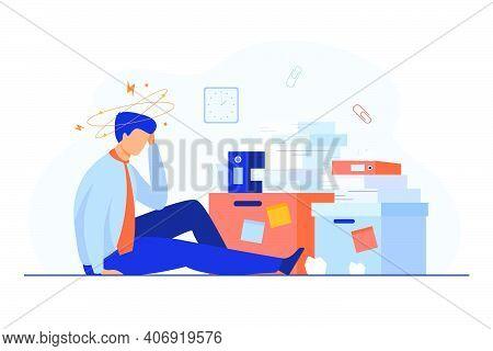 Tired Man Sitting On Floor With Paper Document Piles Around Flat Vector Illustration. Cartoon Frustr