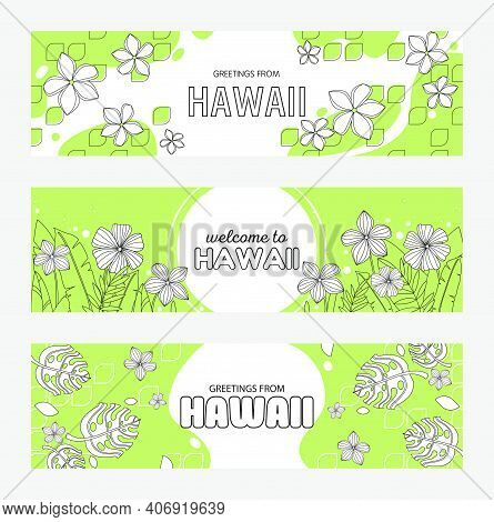 Trendy Hawaiian Greeting Flyers Vector Illustration. Flowers And Leaves On Background And Ads Text.