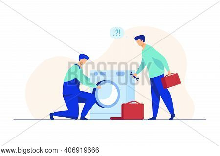 Two Repairmen Fixing Washing Machine. Handymen, Mentor And Intern With Tools Flat Vector Illustratio