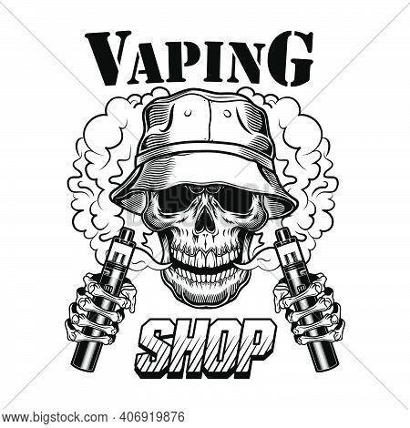 Vape Shop Vector Illustration. Trendy Hipster Vaper Skull With Electronic Cigarettes And Vapor. Life