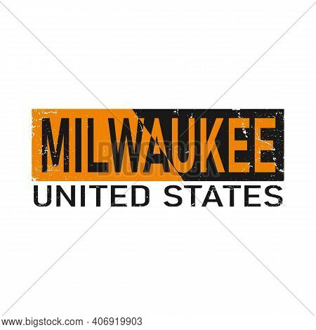 Milwaukee. Orange Typography Text Banner. Vector The Word Milwaukee Design