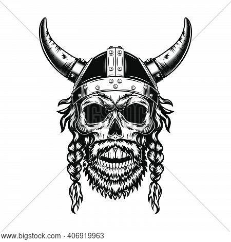 Viking Skull In Horned Helmet Vector Illustration. Monochrome Head Of Scandinavian Warrior With Bear