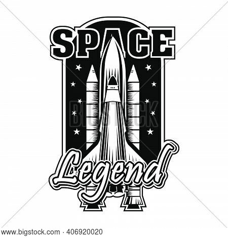 Vintage Shuttle For Universe Exploring Vector Illustration. Monochrome Rocket Ready For Launch Or St